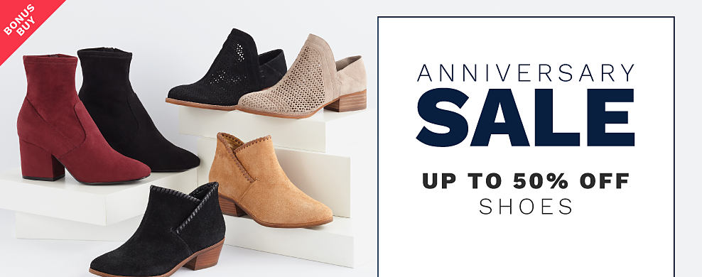An assortment of women's shoes in a variety of colors & styles. Anniversary Sale. Bonus Buy. Up to 50% off shoes.