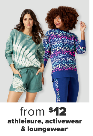 A woman in matching green dip dyed crewneck and short set. A woman in a matching blue and leopard crewneck and legging set. From $12 athleisure, activewear and loungewear.