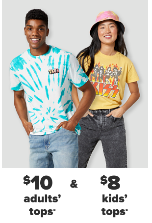 A young man in a blue and white tie dye shirt and jeanss. A young woman in a pink tie dye bucket hat, a yellow Kiss graphic tee and black pants. $10 adults' tops and $8 kids' tops.