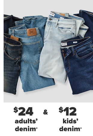 Four pairs of jeans in various washes. $24 adults' denim and $12 kids' denim.