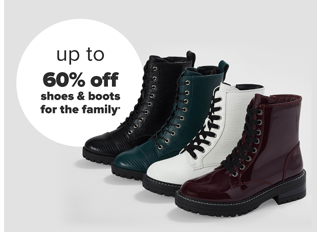 Four combat boots in black, dark teal, white and maroon. Up to 60% off shoes and boots for the family.