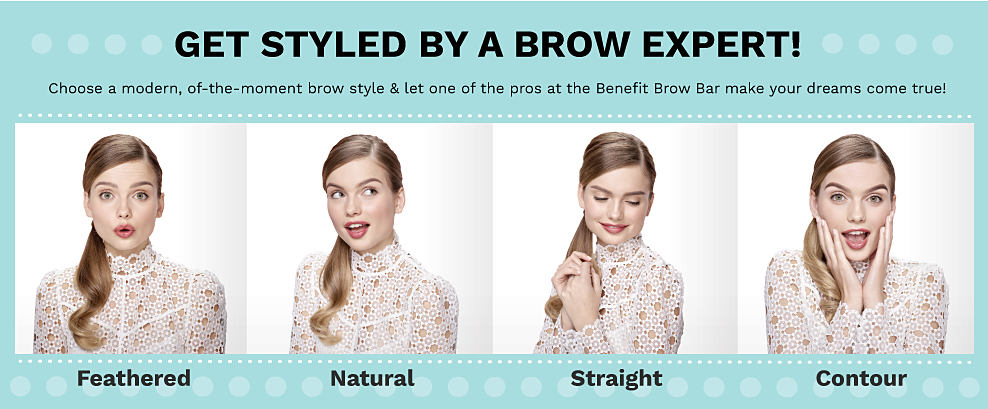 Get styled by a brow expert! A model showcasing feathered, natural, straight and contour brow styles.
