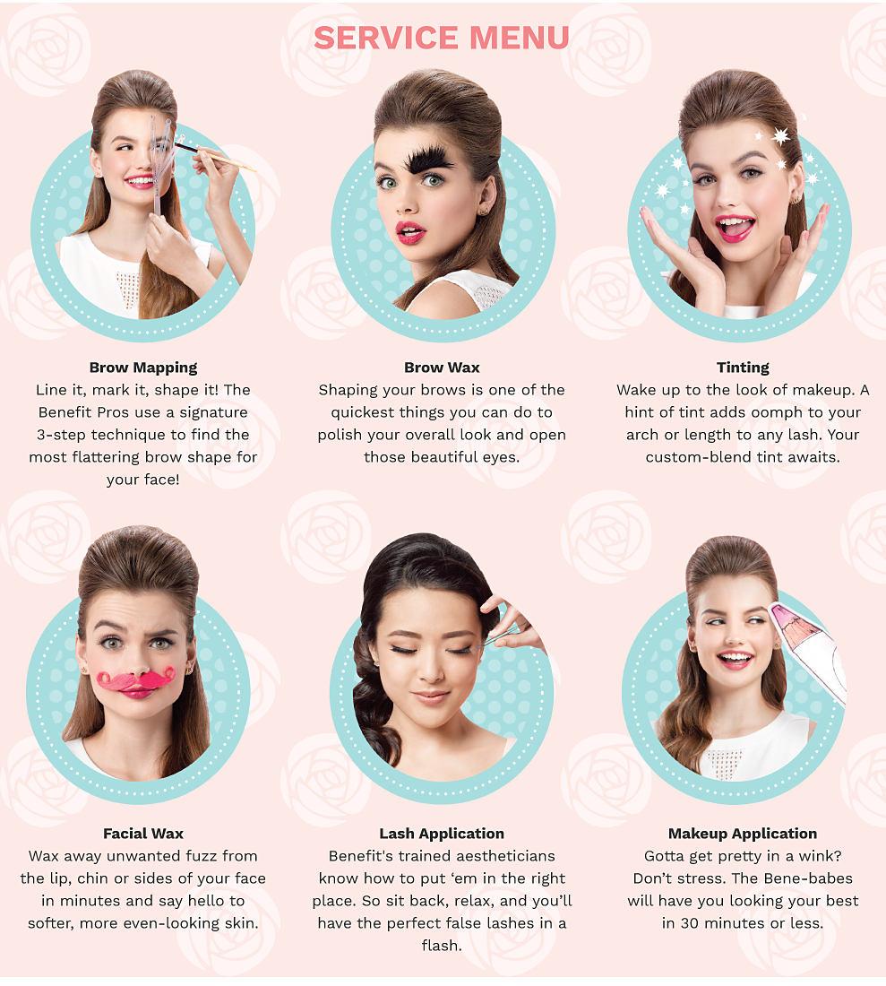 Service menu, brow mapping, brow wax, tinting, facial wax, lash application, makeup application.