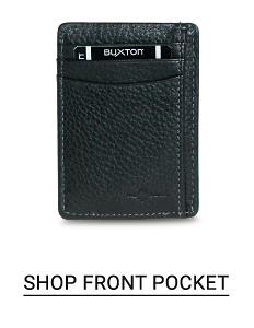 A black front pocket wallet. Shop front pockets.