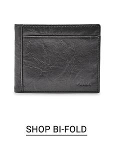 A black bi fold wallet. Shop bi fold.