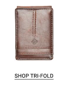 A brown tri fold wallet. Shop tri fold.