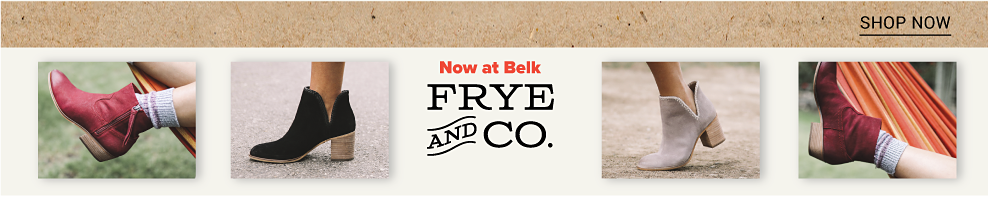 An assortment of leather & suede booties in a variety of colors & styles. Introducing Frye & Company. Shop now.