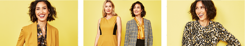 A woman in a printed blouse and a yellow jacket. A woman in a yellow and black sleeveless dress standing next to a woman in a yellow blouse and a plaid jacket. A woman in an abstract black and yellow print top.