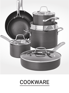 A variety of pots and pans. Shop cookware.
