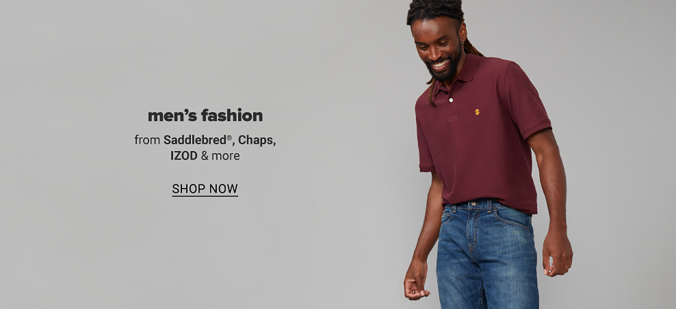 Man in maroon polo with a Izod logo stitched on the chest and jeans. Men's fashion from Saddlebred, Chaps, Izod and more. Shop now