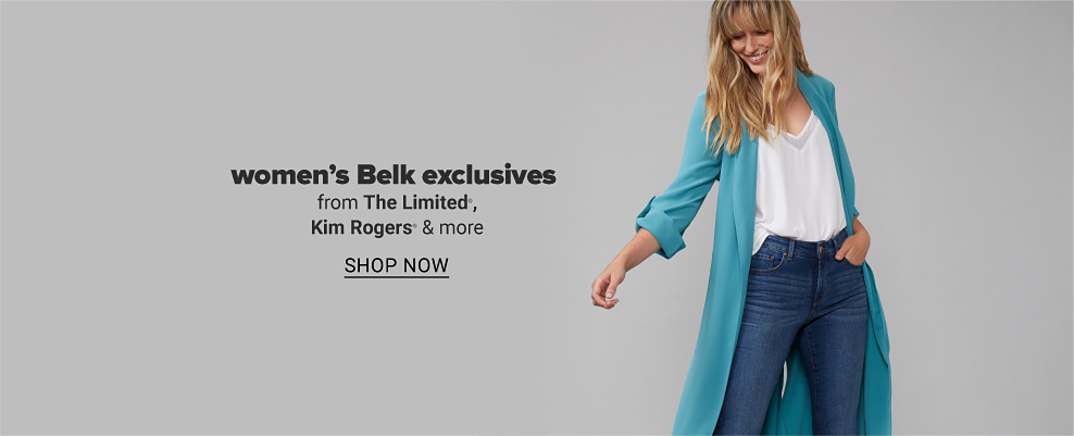 Woman in a long teal open-front duster with rolled up sleeves and a white v-neck tank top with jeans. Women's Belk exclusives from The Limited, Kim Rogers and more. Shop now.
