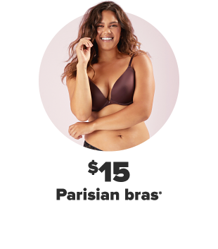 A woman in a dark purple bra. $15 Parisian bras.