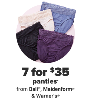 Panties in blue, white, black and purple. Seven for $35 panties from Bali, Maidenform and Warner's.