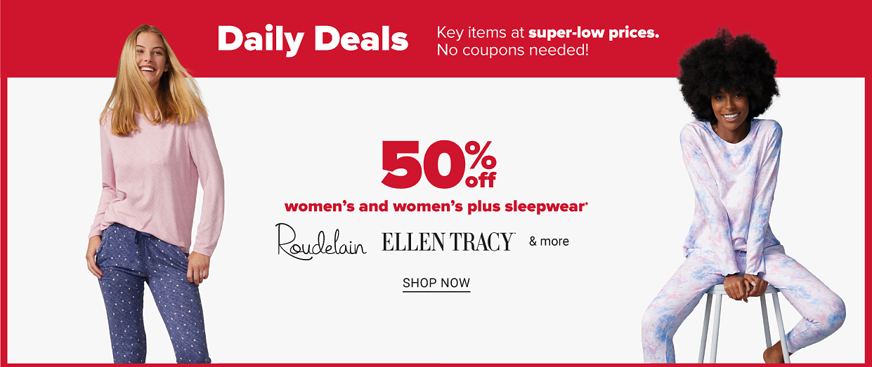 A woman in a pink pajama top and blue pajama pants. Another woman in a white, pink and blue floral pajama set. Fifty percent off women's and women's plus sleepwear from Roudelain, Ellen Tracy and more. Shop now.