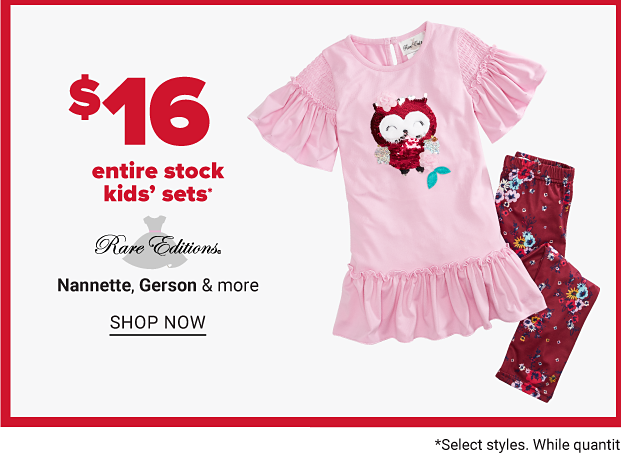 A girls set with a pink shirt and a burgundy owl on the front, with matching burgundy leggings. Eighteen dollar kids' sleepwear, sets and dresses from Carter's, Rare Editions, Bonnie Jean and more. Shop now.