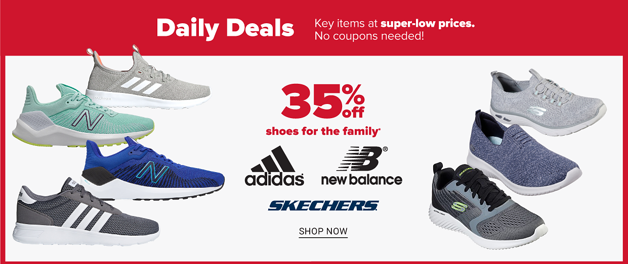 A variety of athletic shoes. Two Adidas shoes in black and gray, two New balance shoes in green and blue, and three Skechers shoes in gray, black and blue. Thirty percent off shoes for the family from Adidas, New Balance and Skechers. Shop now.