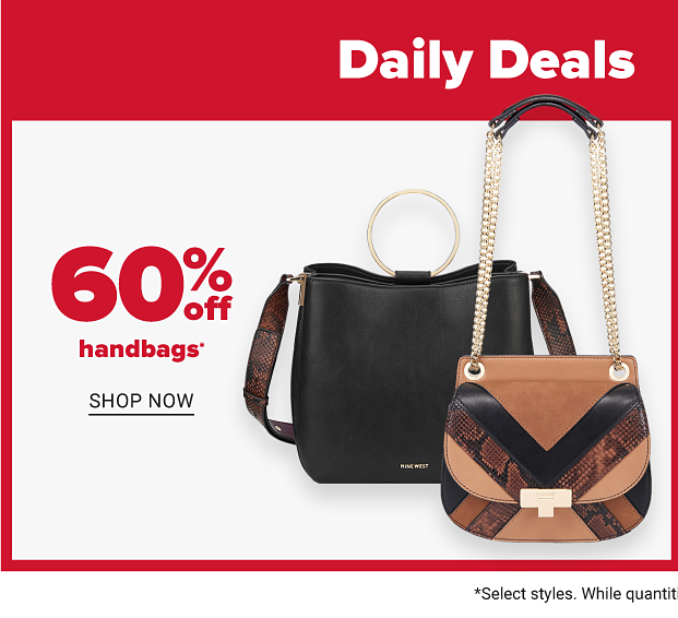 A black handbag besides a handbag with black and brown stripes, and brown snakeskin. Sixty percent off handbags. Shop now.