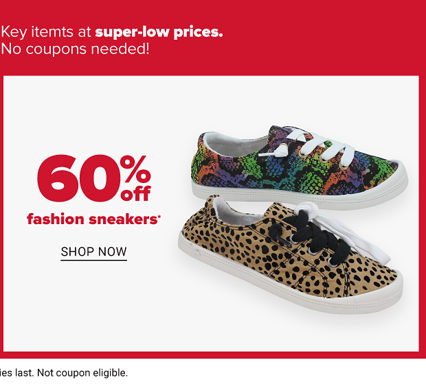 A Jellypop sneaker in an irridescent snakeskin pattern, and another in a leopard print pattern. Sixty percent off fashion sneakers. Shop now.