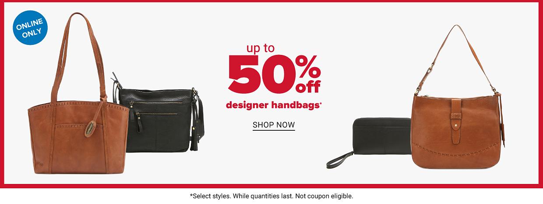 A brown handbag beside a black handbag, and a small black wristlet beside another brown handbag. Up to 50% off designer handbags. Online only. Shop now.