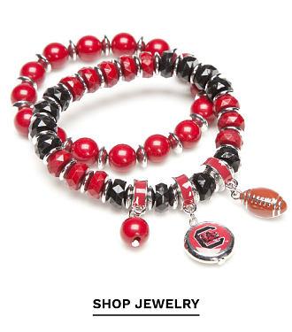 A red and black bead University of South Carolina Gamecocks charm bracelet. Shop jewelry