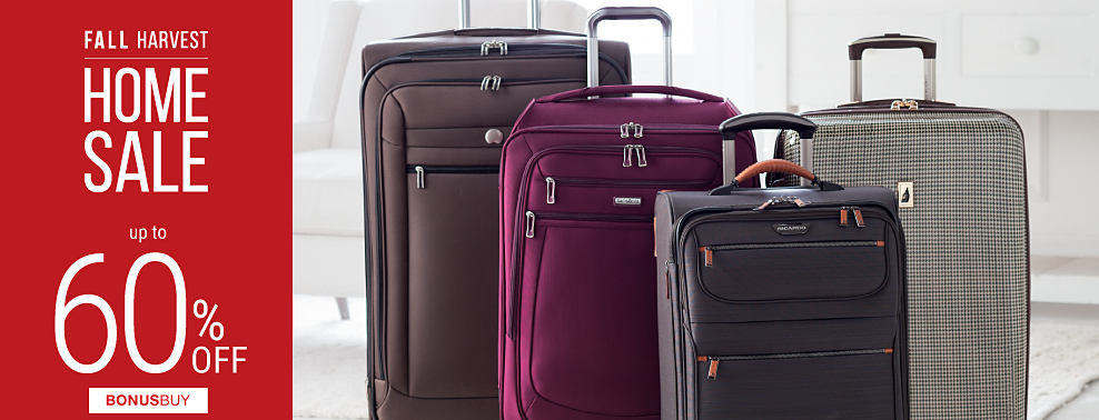 An assortment of wheeled luggage in a variety of colors & styles. Fall Home Sale. Bonus Buys. Up to 60% off.