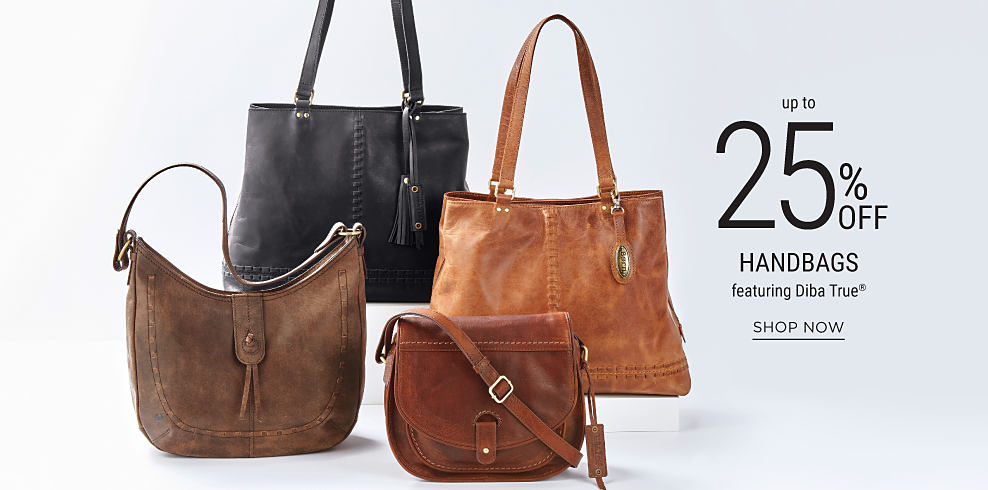 An assortment of leather handbags from Diba True. Up to 25% off handbags featuring Diba True. Shop now.