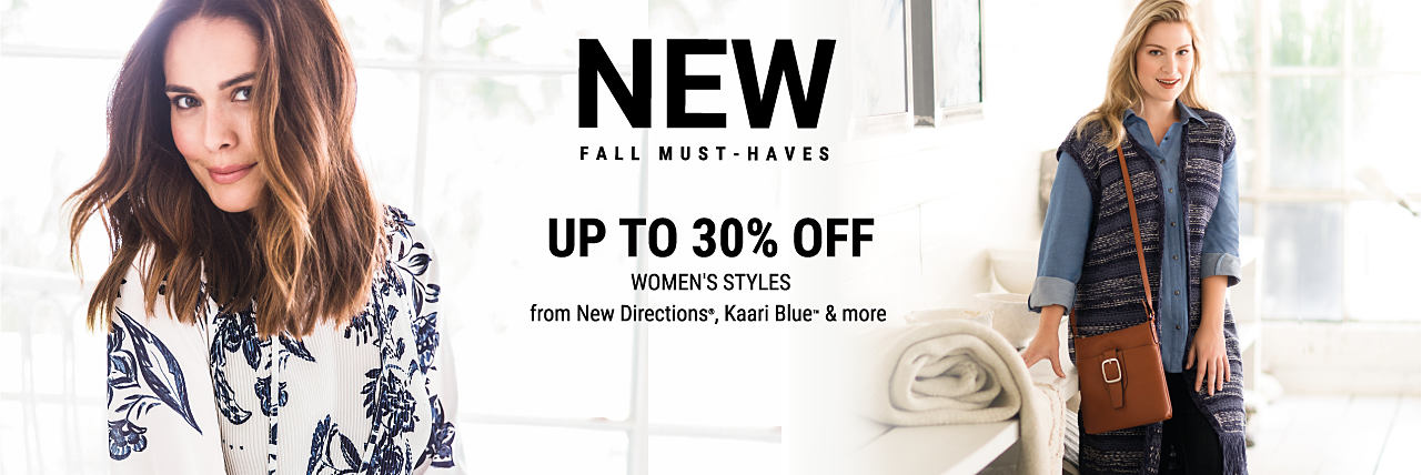 A woman wearing a blue & white floral print top. A woman wearing a multi-colored sweater vest, a dark blue button-front blouse & black pants. New Fall Must-Haves. Up to 30% off women's styles from New Directions, Kaari Blue & more. Shop women. Shop women's plus.
