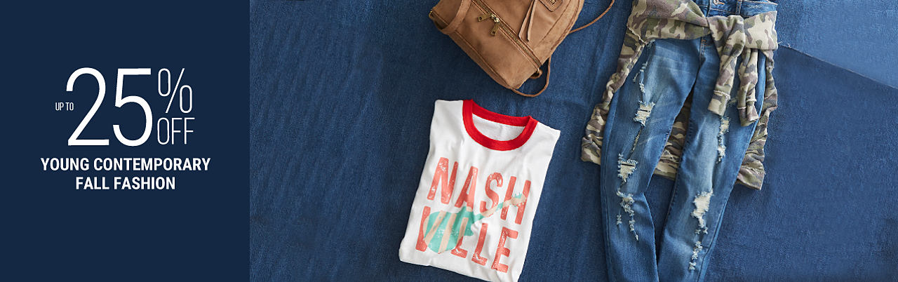 A Nashville graphic tee, a camo jacket. distressed jeans, sunglasses & a backpack purse. Up to 25% off young contemporary fall fashion. Shop denim. Shop tees.