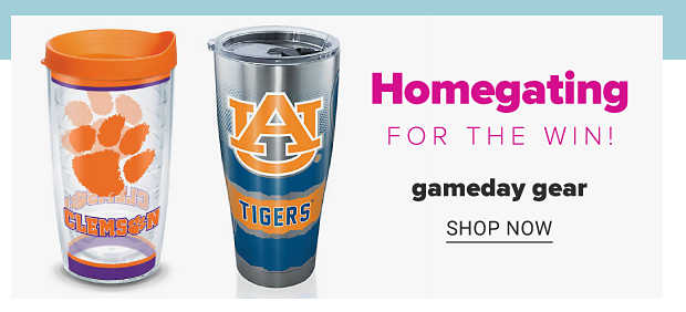 Two tumbler cups with team logos and colors. Homegating for the win. Gameday gear. Shop now.