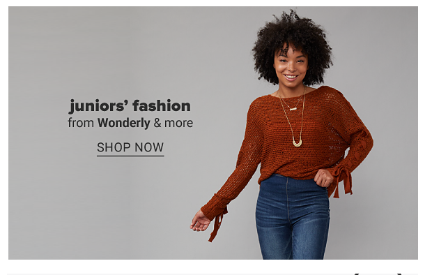 A young woman in a dark orange sweater, jeans and necklace. Juniors' fashion from Wonderly, True Craft and more. Shop now.