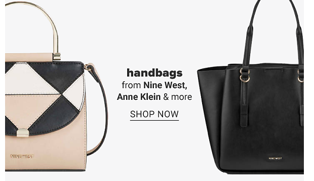 A light pink handbag with black and white accents. A black handbag. Handbags from Nine West, Anne Klein and more. Shop now.