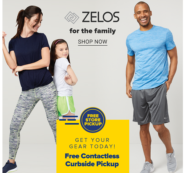 A woman in a navy tee, white, gray and navy heathered leggings and navy sneakers. A girl in a white tee and neon shorts. A man in a blue tee, gray shorts and gray sneakers. Zelos for the family, shop now.