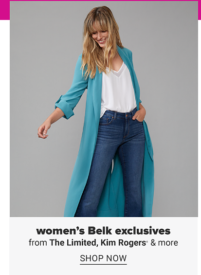 A woman with a white cami, long green duster sweater and jeans. Women's Belk exclusives from The Limited, Kim Rogers and more. Shop now.