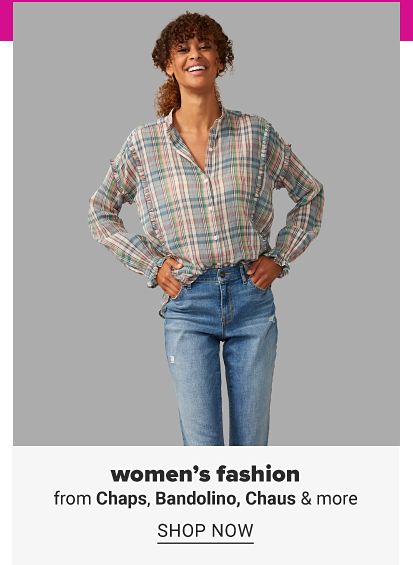 A woman in a plaid button front top and jeans. Women's fashion from Chaps, Bandolino, Chaus and more. Shop now.