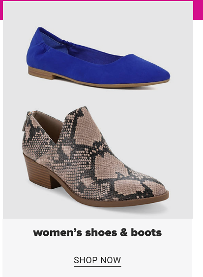 A blue flat and a snakeskin boot with a low block heel. Women's shoes and boots. Shop now.