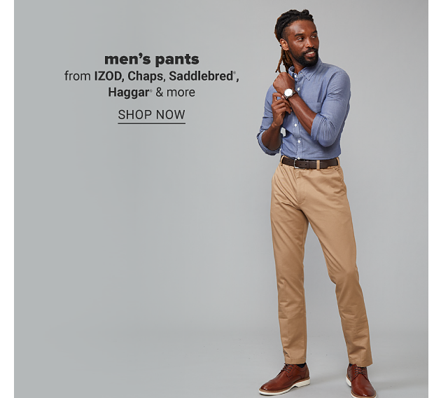 A man in a blue dress shirt, khaki pants, brown shoes, brown belt and watch. Men's pants from Izod, Chaps, Saddlebred, Haggar and more. Shop now.