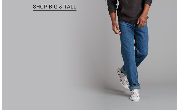 A man in a grey hoodie, jeans and white sneakers. Men's fashion from Saddlebred, Chaps, Izod and more. Shop men. Shop big and tall.