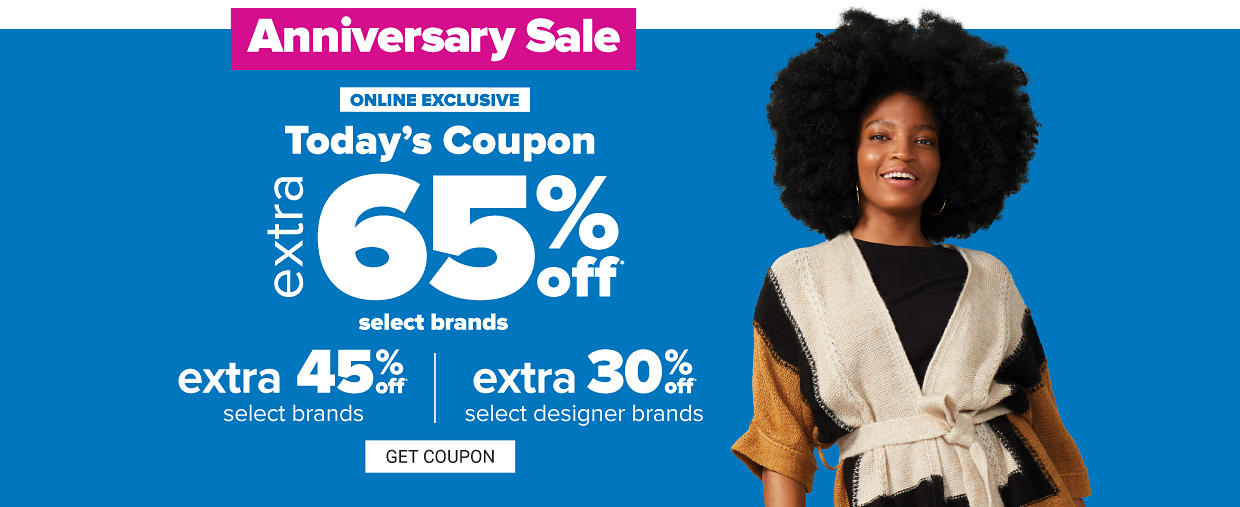 A woman in a black top and a white, black and dark yellow colorblock sweater. Anniversary sale. Today's coupon, extra 60% off select Belk exclusions and national brands. Extra 40% off select national brands. Extra 25% off select designer brands. Get coupon.