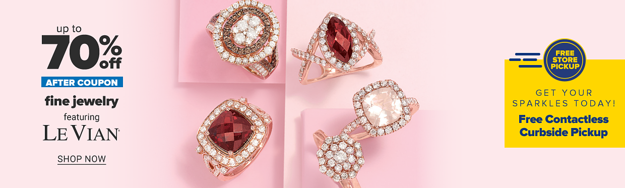 An assortment of rose gold rings with diamonds and other precious gemstones. Up to 70% off, after coupon, fine jewelry feauring Le Vian. Shop now.