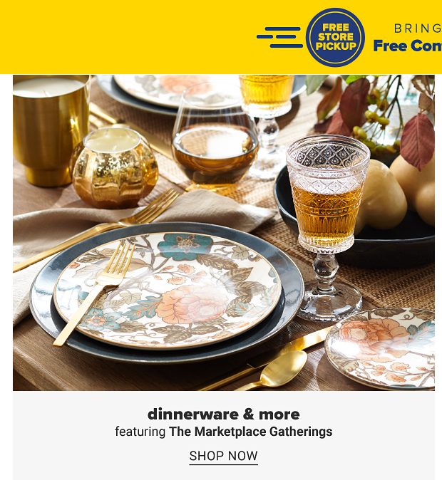 A table set with dinnerware, drinkware and decor. Dinnerware and more featuring The Marketplace Gatherings. Shop now.