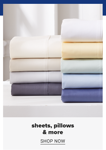 A stack of folded sheets in a variety of colors. Sheets, pillows and more featuring goodness and grace, shop now.