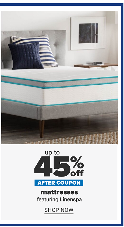 A bed with an uncovered mattress and pillows on top. Up to 40% off after coupon, mattresses featuring Linenspa. Shop now.