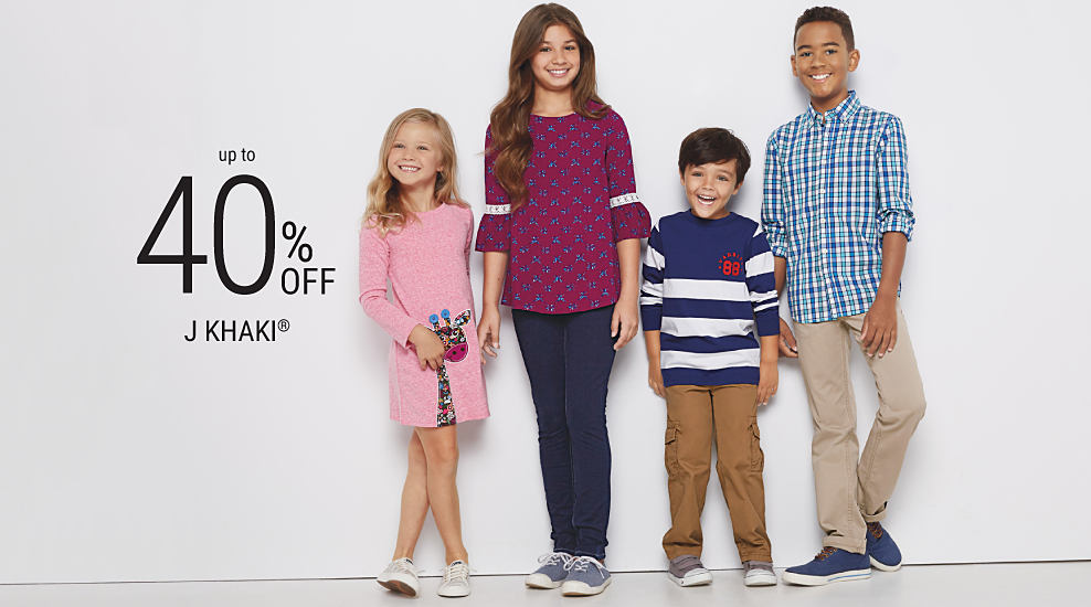 2 boys & 2 girls wearing various styles of J Khaki mix & match kids' apparel. Up to 40% off J Khaki. Shop girls. Shop boys.