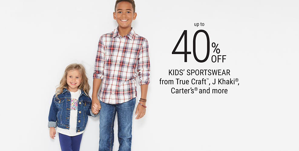 A girl wearing a denim jacket, blue pants, blue sneakers & a white shirt with a floral front print. A boy wearing a multi-colored plaid button-front shirt, blue jeans & white sneakers. Up to 40% off kids sportswear from True Craft, J Khaki, Carter's & more. Shop girls. Shop boys.
