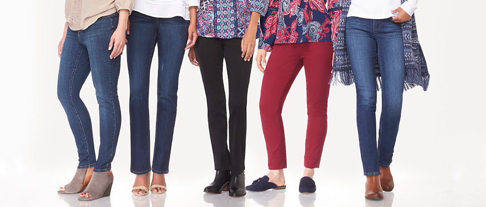 5 women wearing different styles of tops & jeans. Jeans for Every Occasion. Shop now.