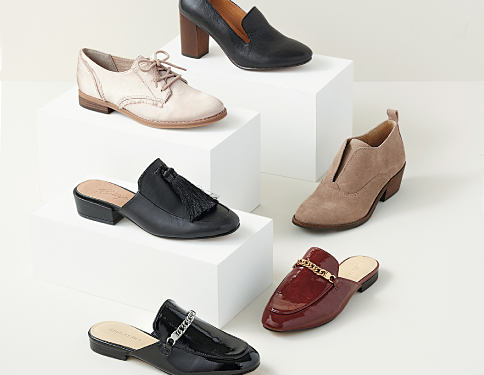 An assortment of women's shoes in a variety of colors & styles. Boy Meets Girl. Menswear-inpsired designs with a feminine twist. Shop now.