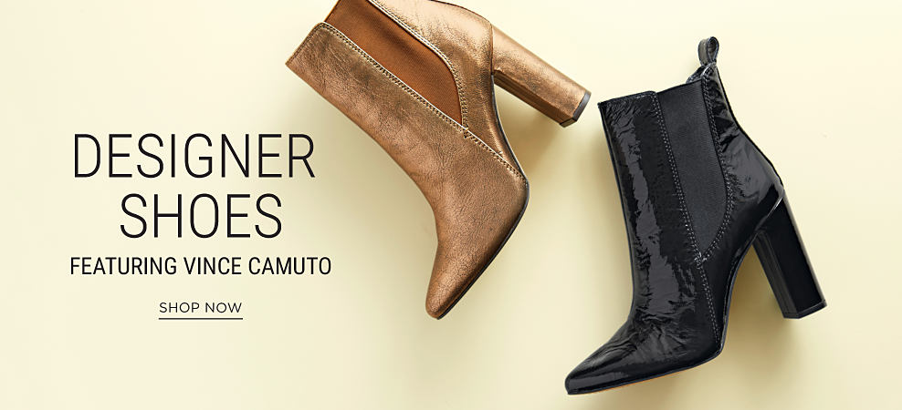A bronze leather boot & a black leather boot. Designer shoes featuring Vince Camuto. Shop now.