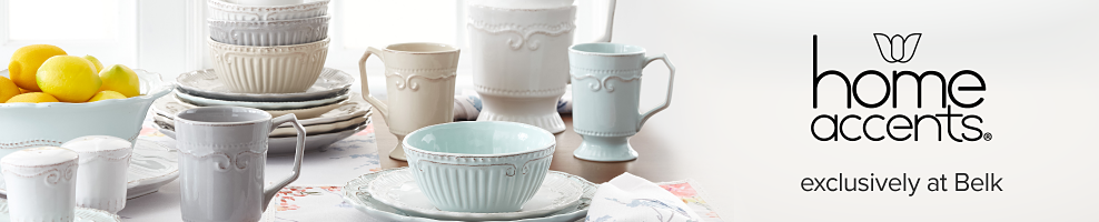 A table set with white, light blue & beige plates, bowls & mugs. Home Accents. Exclusively at Belk.