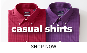 Two button front shirts, one red and one purple. Shop casual shirts.
