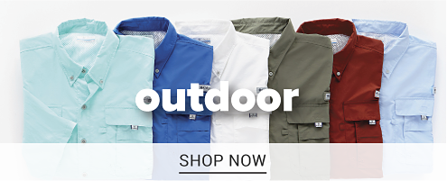 Six folded outdoor shirts in a variety of colors. Shop outdoor.